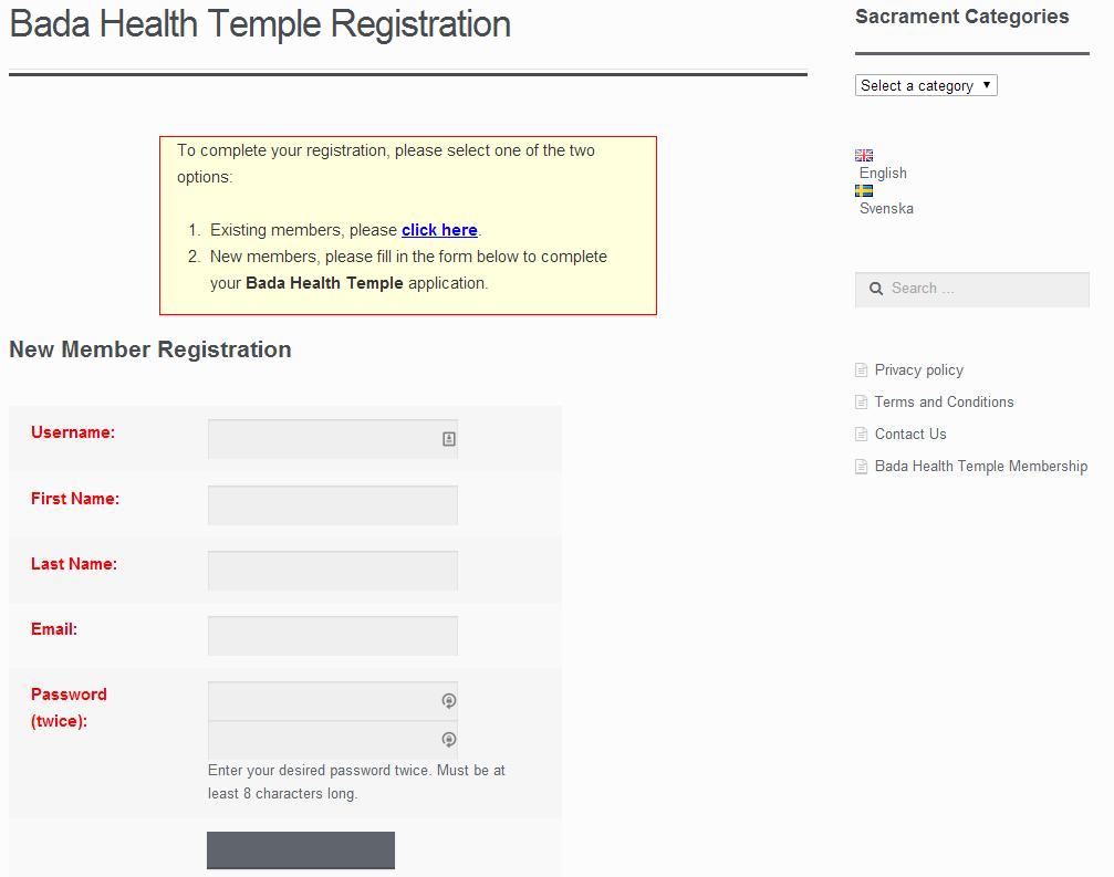 Bada temple membership registration